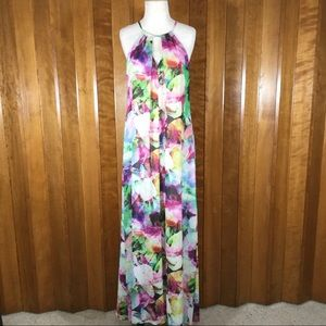 Maggy London Water Color Halter Maxi Dress
